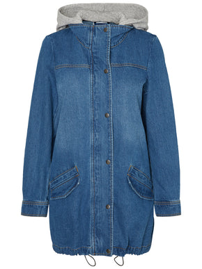 DENIM PARKA WITH SWEATSHIRT DETAIL