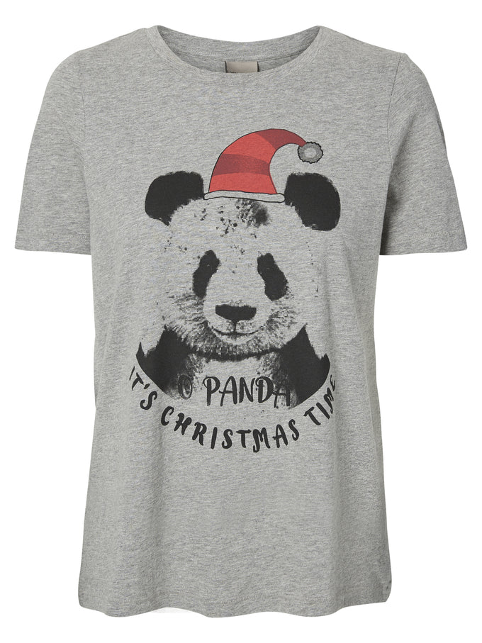 CUTE CHRISTMAS PRINT T-SHIRT LIGHT GREY MELANGE PANDA