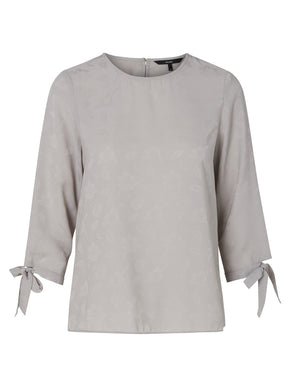 3/4 SLEEVE BLOUSE WITH JACQUARD DETAIL
