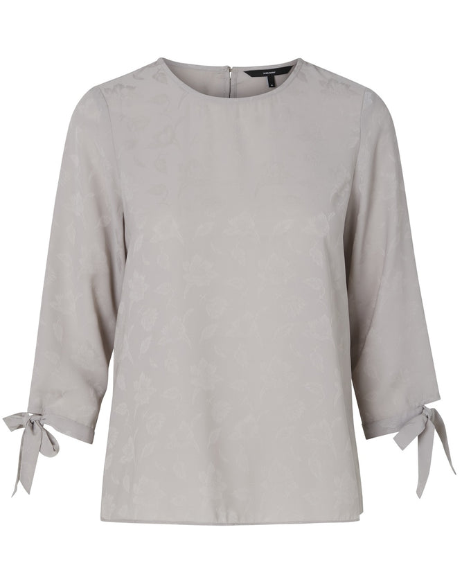 3/4 SLEEVE BLOUSE WITH JACQUARD DETAIL ASH