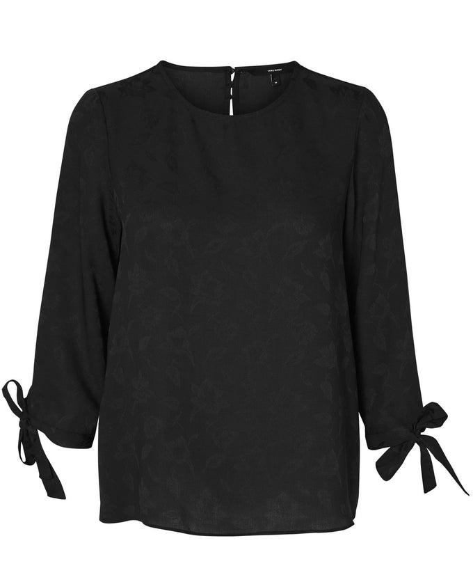 3/4 SLEEVE BLOUSE WITH JACQUARD DETAIL BLACK