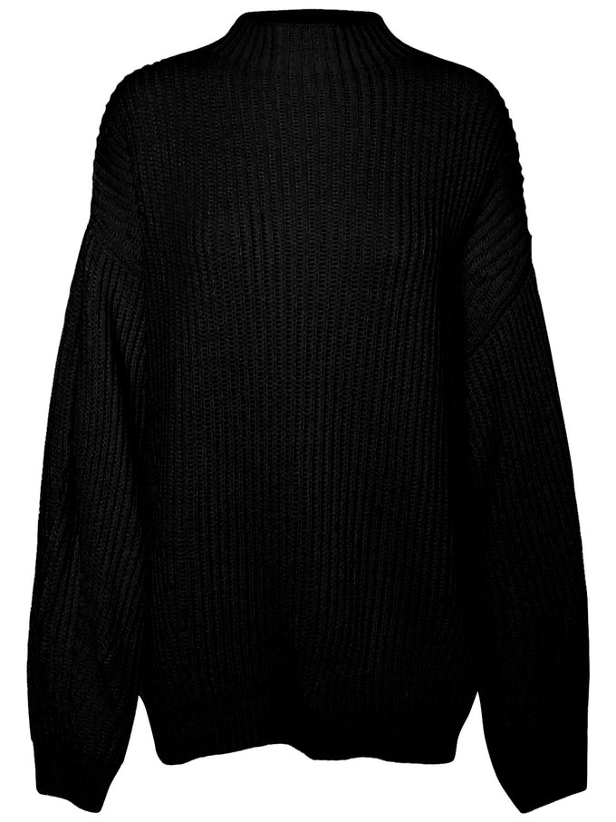 HIGH NECK BALLON SLEEVE SWEATER BLACK