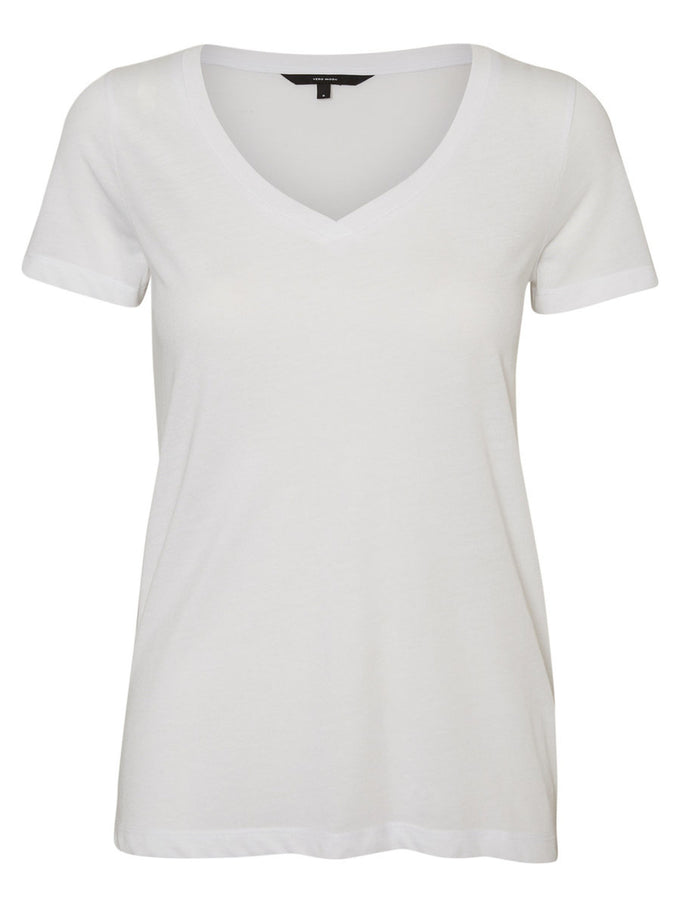 Basic V-Neck T-Shirt SNOW WHITE
