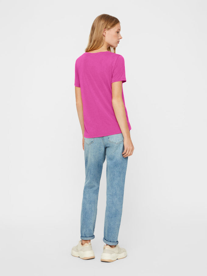 Basic V-Neck T-Shirt FESTIVAL FUCHSIA