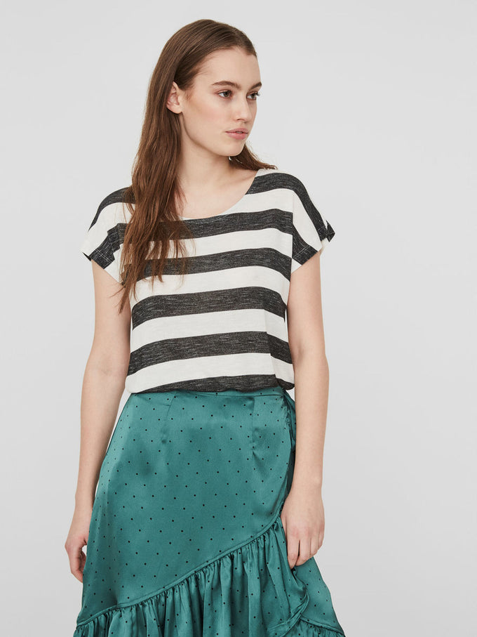 HIGH-LOW STRIPED T-SHIRT SNOW WHITE GREY