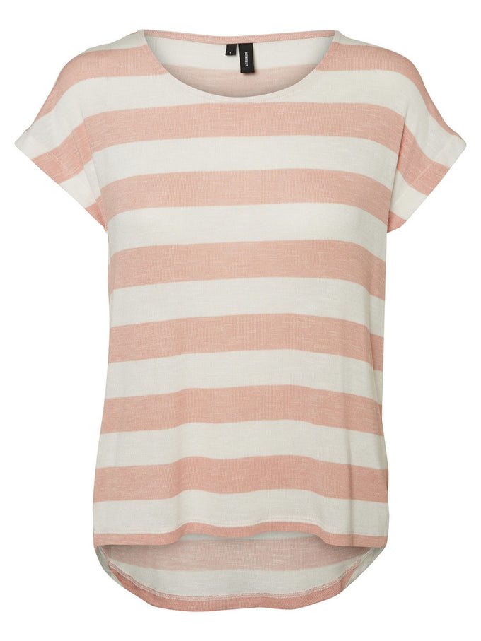 HIGH-LOW STRIPED T-SHIRT SNOW WHITE PINK