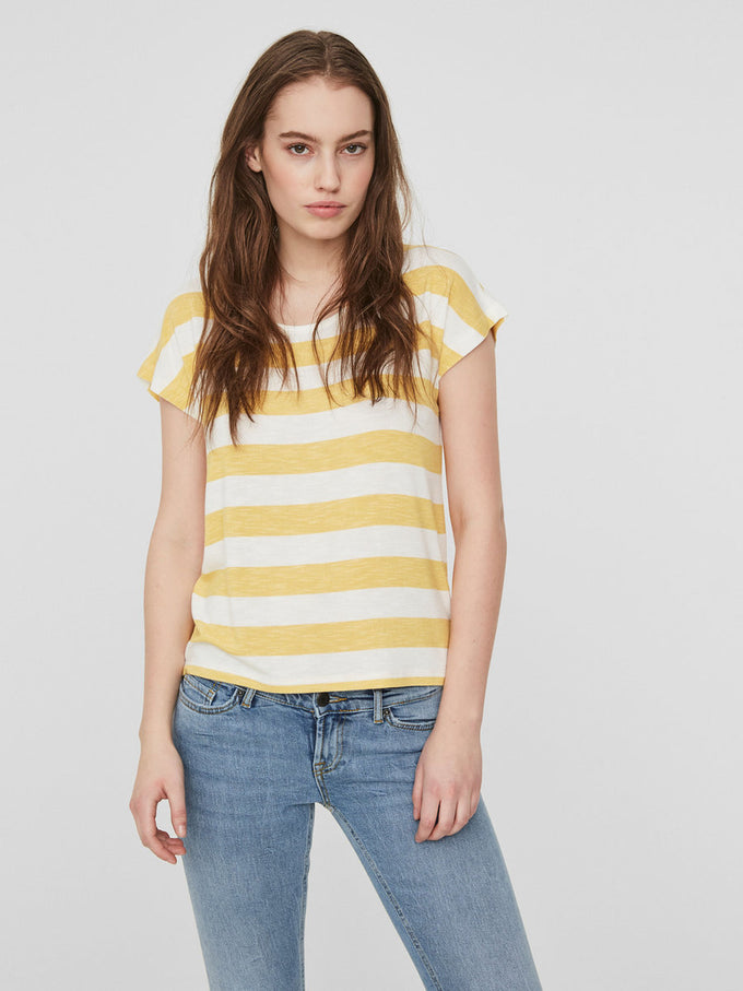 HIGH-LOW STRIPED T-SHIRT SNOW WHITE