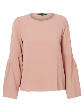 LONG BELL SLEEVE CREPE BLOUSE