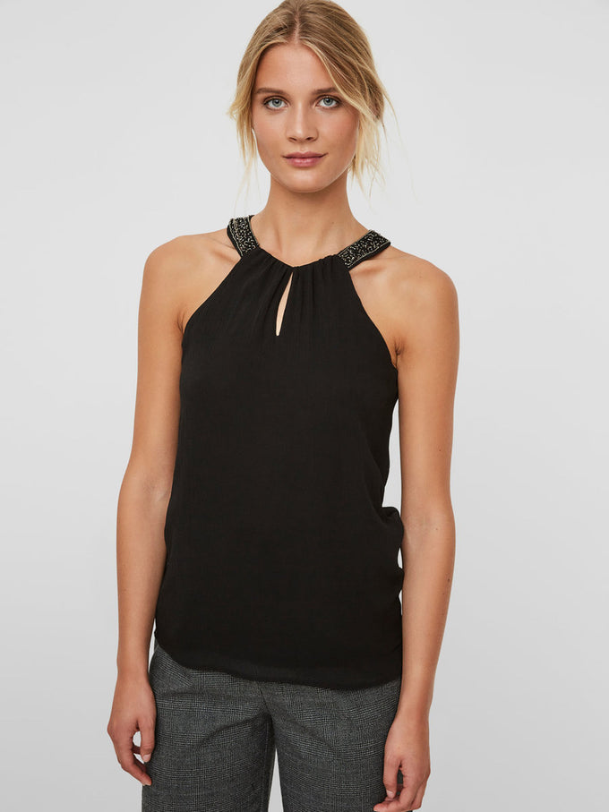 EMBELLISHED SLEEVELESS BLOUSE BLACK