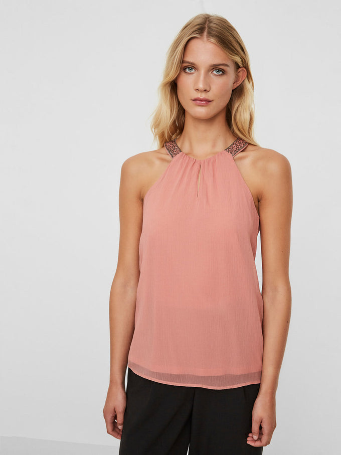 EMBELLISHED SLEEVELESS BLOUSE OLD ROSE