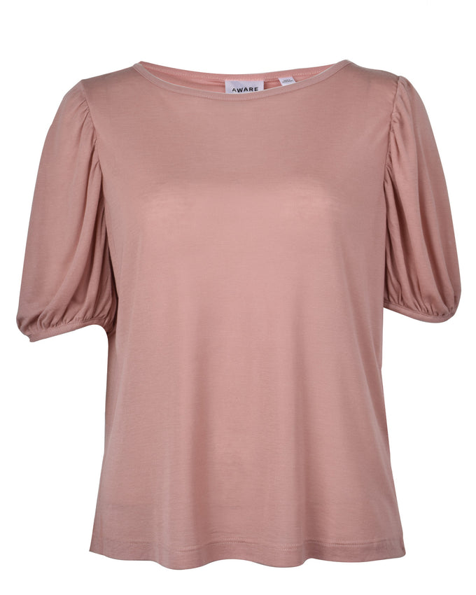 BALLON SLEEVE TENCEL T-SHIRT MISTY ROSE