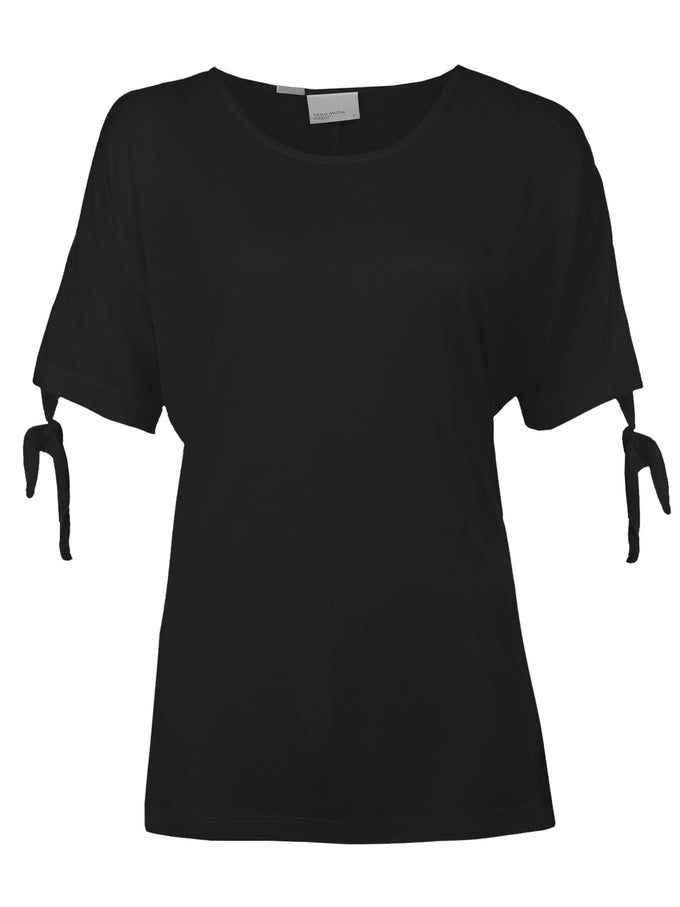 T-SHIRT WITH KNOT DETAIL BLACK