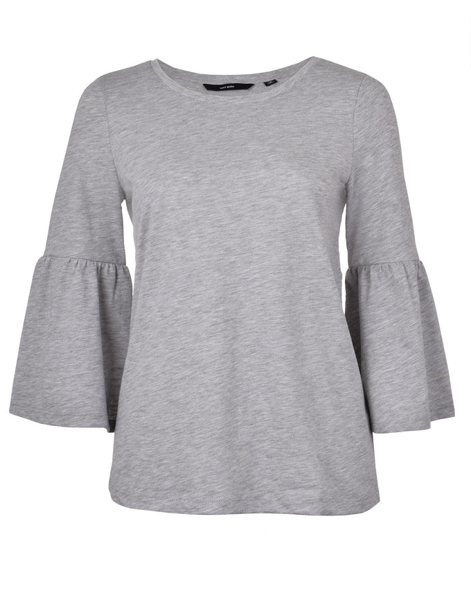 T-SHIRT À MANCHES CLOCHE GRIS PALE