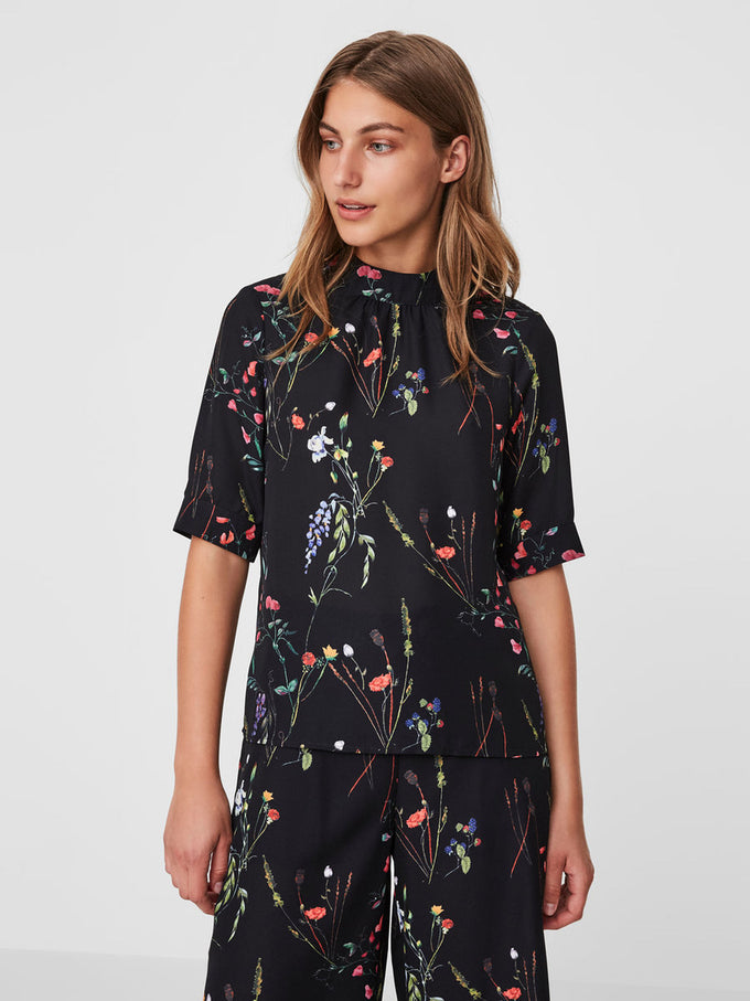 HIGH NECK FLORAL BLOUSE BLACK
