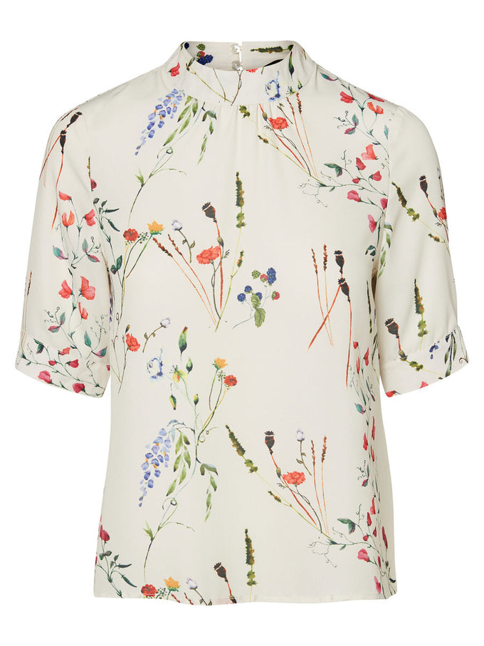 HIGH NECK FLORAL BLOUSE EGGNOG