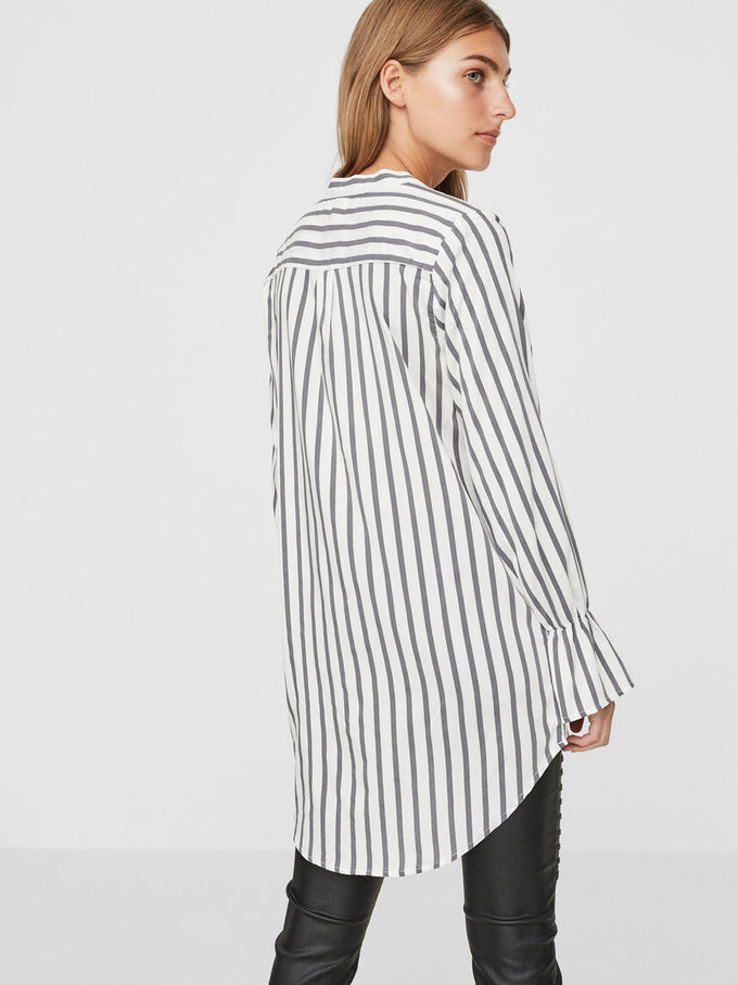 HIGH-LOW STRIPED SHIRT SNOW WHITE STRIPES
