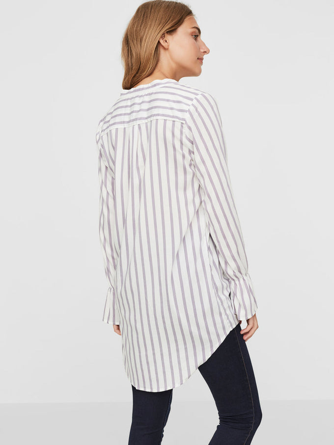 HIGH-LOW STRIPED SHIRT SNOW WHITE