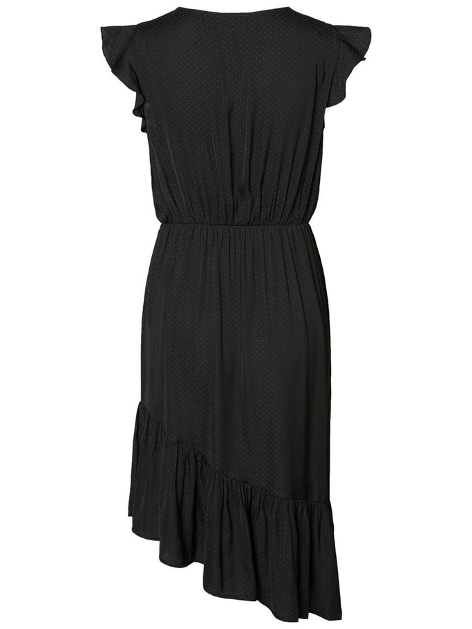 ASYMMETRIC SATIN DRESS BLACK