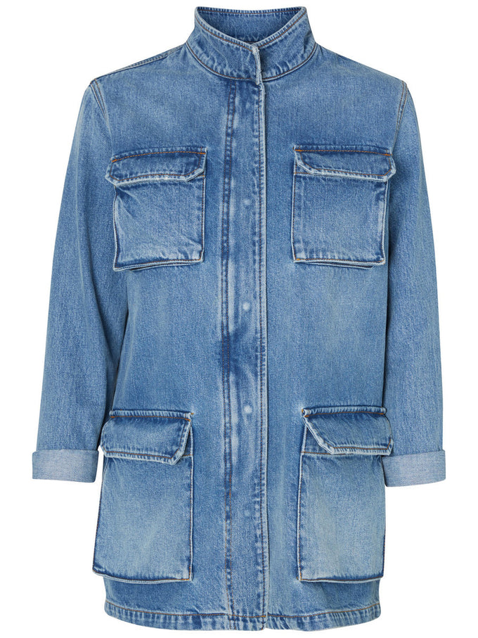LONG DENIM JACKET MM/VM LIGHT BLUE DENIM