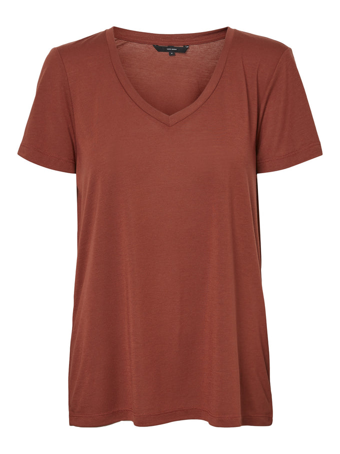 Spicy V-Neck T-Shirt MAHOGANY
