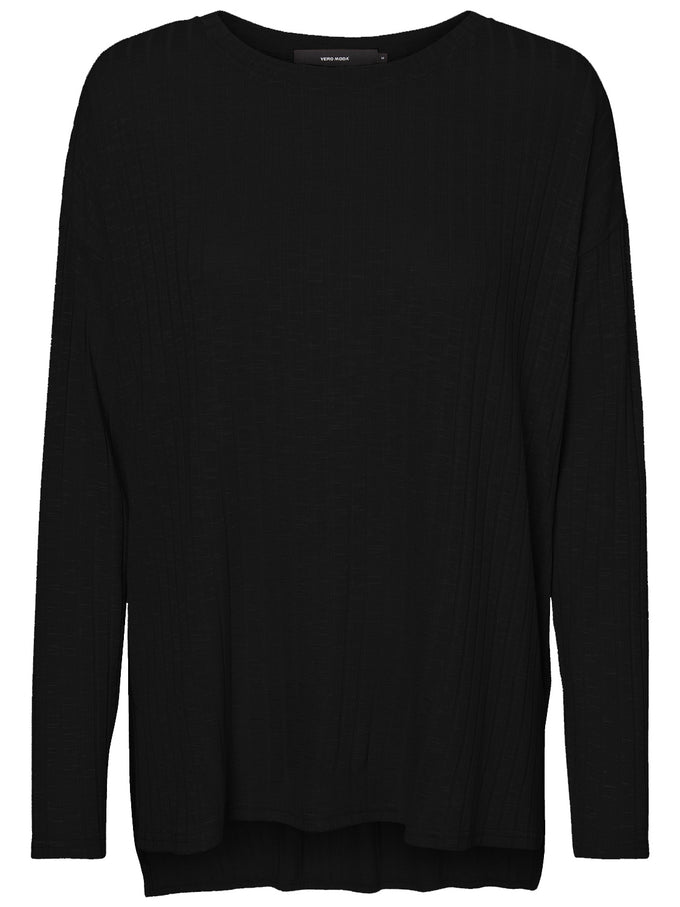 HIGH-LOW TEXTURED SWEATER BLACK