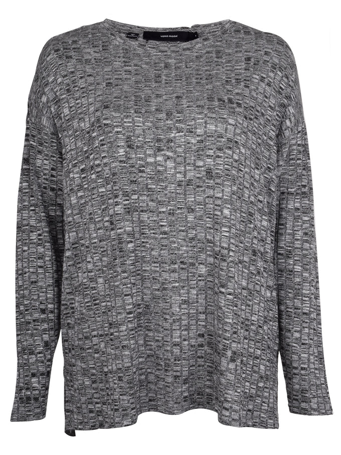 HIGH-LOW TEXTURED SWEATER LIGHT GREY MELANGE