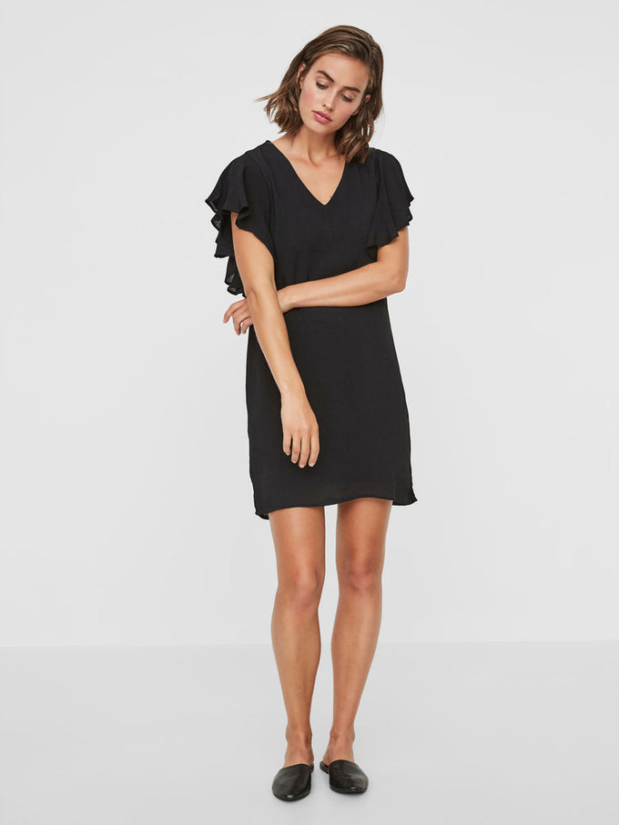 SHORT SLEEVE DRESS WITH FRILLS BLACK