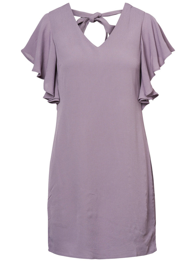 SHORT SLEEVE DRESS WITH FRILLS GRAY RIDGE
