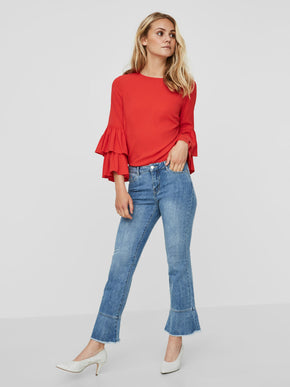 VMSAM CROPPED JEANS WITH FRILL