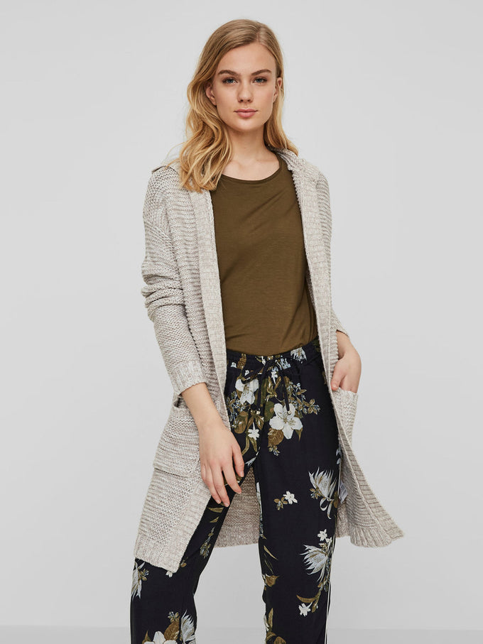 CARDIGAN LONG AVEC CAPUCHON CENDRES