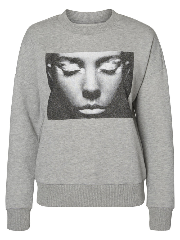 GRAPHIC PRINT SWEATSHIRT LIGHT GREY MELANGE