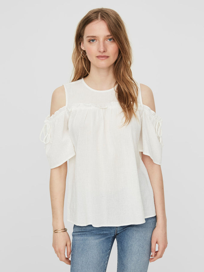 COLD SHOULDER TEXTURED BLOUSE SNOW WHITE