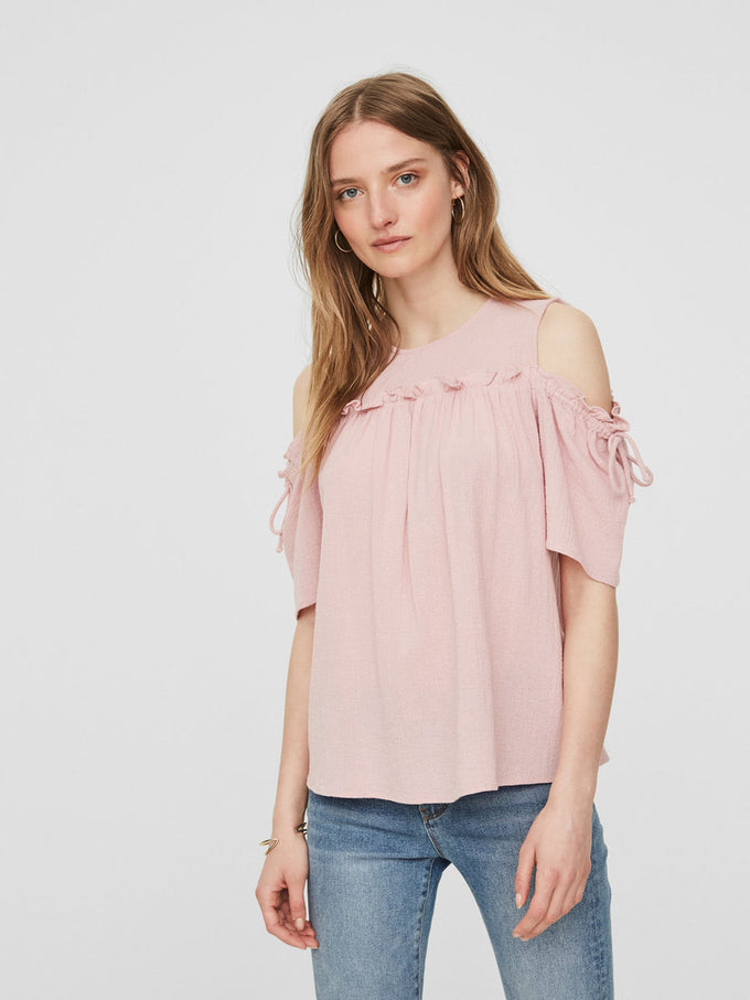COLD SHOULDER TEXTURED BLOUSE ZEPHYR