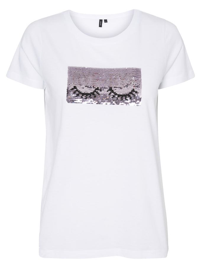 T-SHIRT WITH SEQUINS DETAIL SNOW WHITE