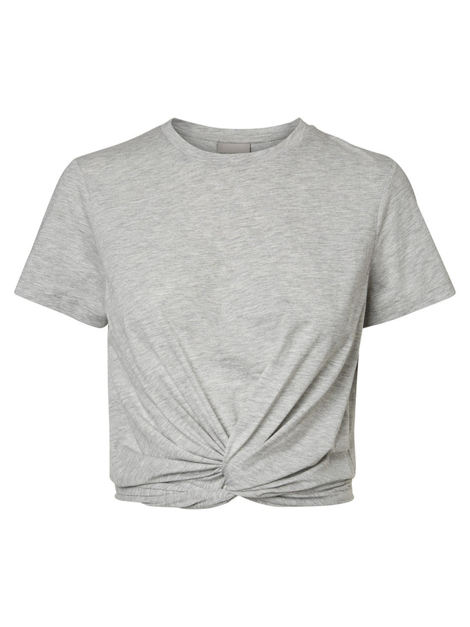 CROPPED T-SHIRT WITH KNOT DETAIL LIGHT GREY MELANGE