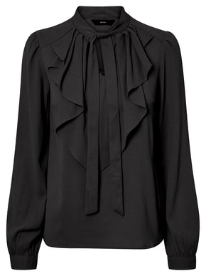 LONG SLEEVE CREPE BLOUSE WITH FRILLS