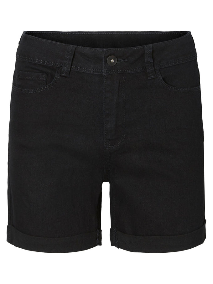 Hot Seven mid-waist denim shorts BLACK