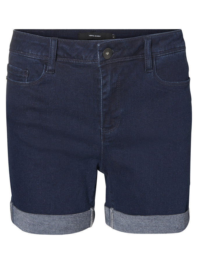 Hot Seven mid-waist denim shorts DARK BLUE DENIM