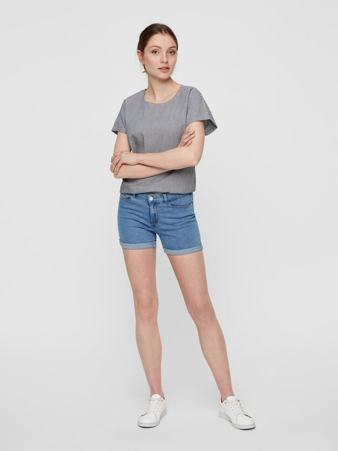 Hot Seven mid-waist denim shorts LIGHT BLUE DENIM