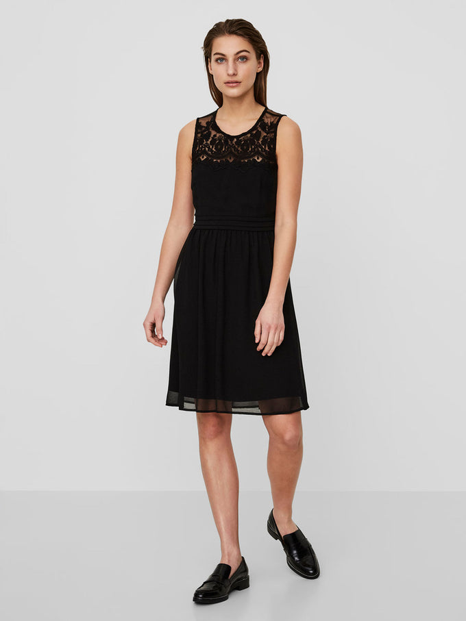 CREPE DRESS WITH LACE BLACK