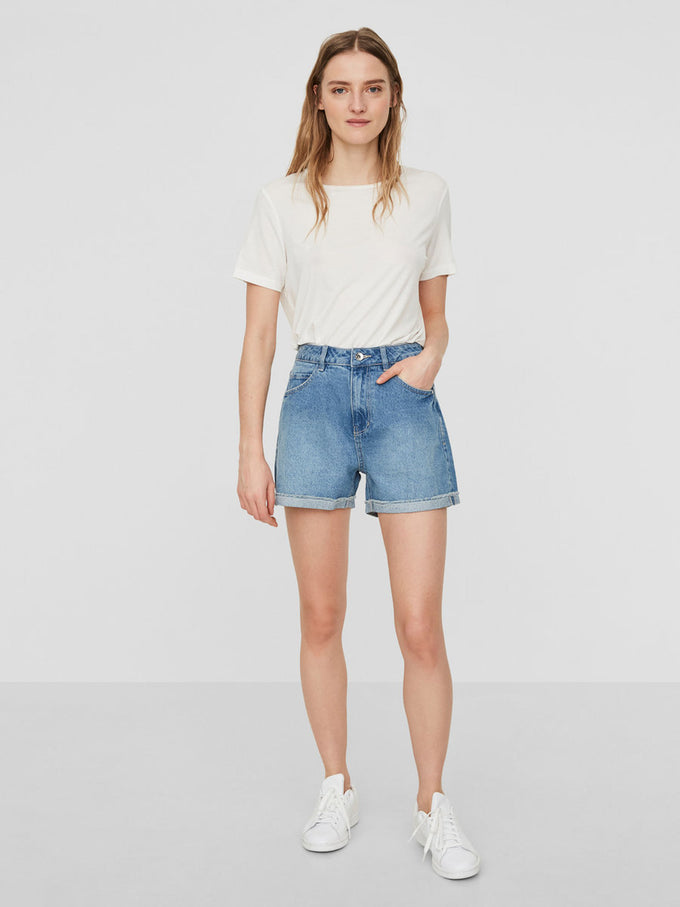 HIGH WAIST DENIM SHORTS LIGHT BLUE DENIM