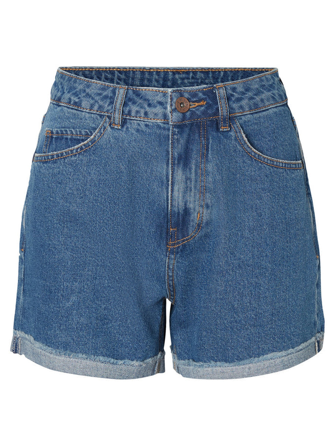 HIGH WAIST DENIM SHORTS MEDUIM BLUE DENIM