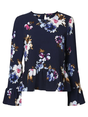 BELL SLEEVE BLOUSE WITH FLORAL PRINT