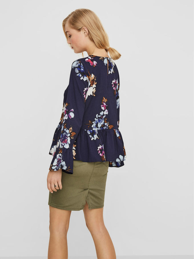 BELL SLEEVE BLOUSE WITH FLORAL PRINT BLACK