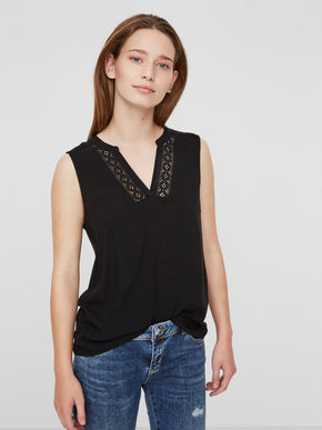 V-NECK BLOUSE WITH LACE DETAIL