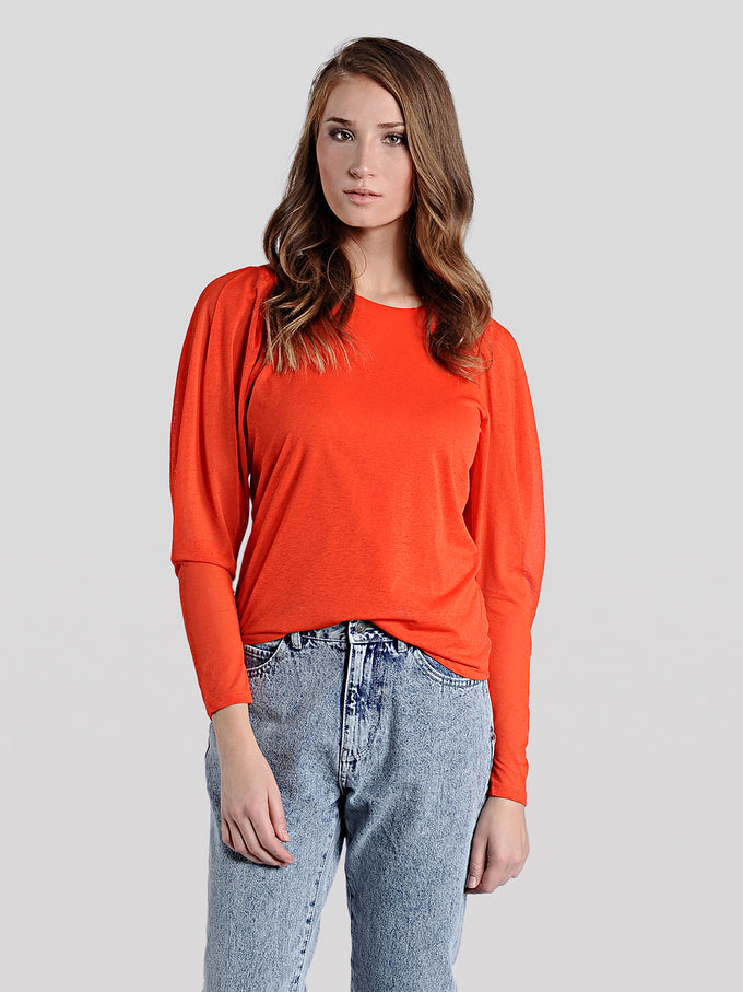 ANNIVERSARY GIGOT SLEEVE TOP SPICY ORANGE