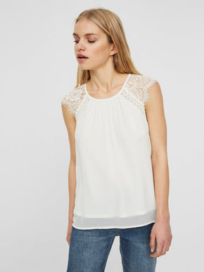 SLEEVELESS BLOUSE WITH LACE