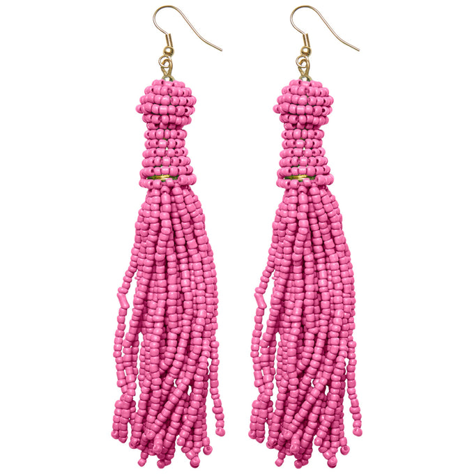 LONG PEARL EARRINGS PINK