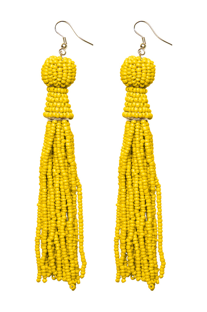 LONG PEARL EARRINGS VIBRANT YELLOW
