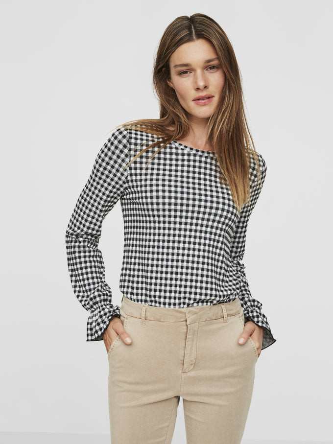 GINGHAM JERSEY TOP BLACK
